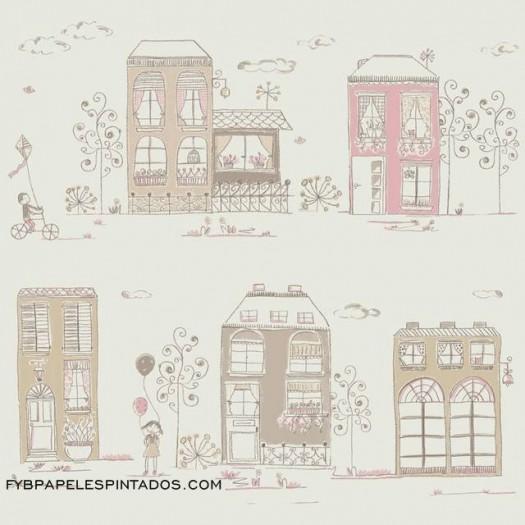 Papel Pintado CASA BEIGE/ROSA