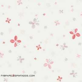 Papel Pintado MARIPOSAS ROJO/GRIS