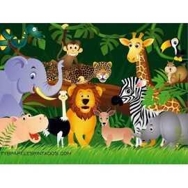 Fotomural infantil JUNGLE ANIMALS FT-0158